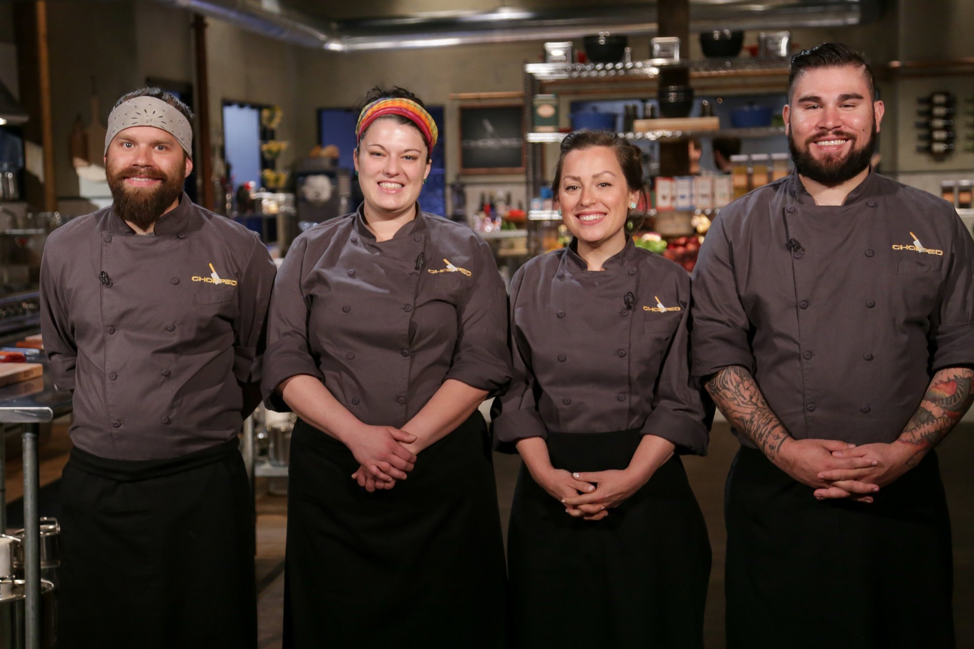 Faith Paulick stands among contestants on Chopped
